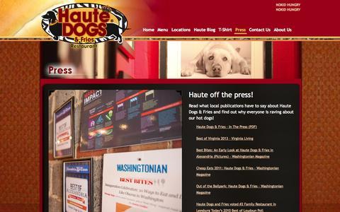Screenshot of Press Page hautedogsandfries.com - Press | Haute Dogs & Fries | The Best Hot Dogs In Virginia | Purcellville & Alexandria Restaurants - captured Oct. 2, 2014