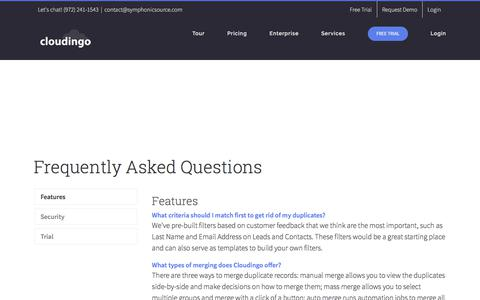 Screenshot of FAQ Page cloudingo.com - FAQ - How to mass merge Salesforce duplicates and more with Cloudingo - captured Aug. 6, 2017