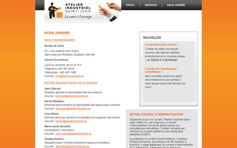 Screenshot of Contact Page atelierindustriel.ca - Atelier Industriel - captured Oct. 4, 2014