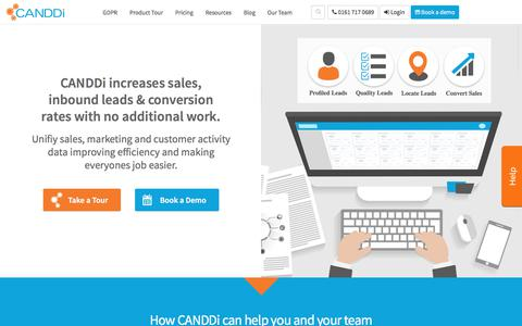 Screenshot of Home Page canddi.com - See Who's Visiting with Website Visitor Tracking Software CANDDi - captured June 15, 2018