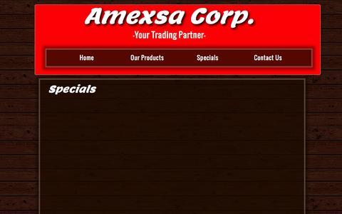 Screenshot of Menu Page amexsacorp.com - Menu - captured Dec. 25, 2015