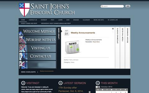 Screenshot of Home Page saintjohns-charlotte.org - St. John's Episcopal Church || Charlotte - captured Oct. 7, 2014