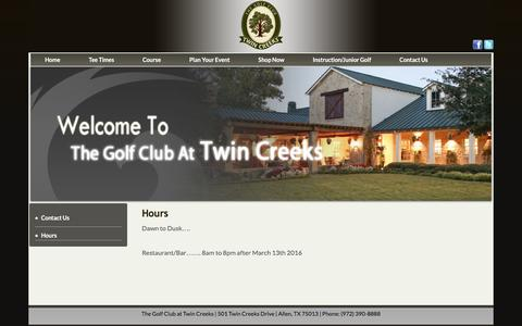 Screenshot of Hours Page twincreeksgolf.com - Hours - captured June 13, 2016