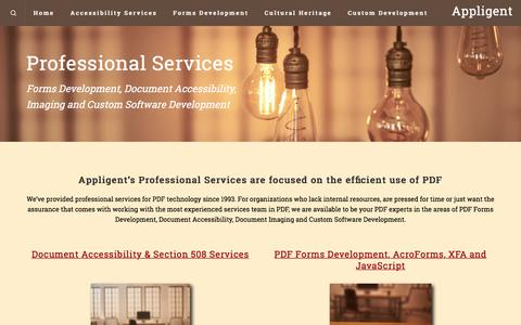 Screenshot of Services Page appligent.com - Services – Appligent - captured July 30, 2018