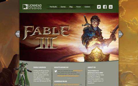 Screenshot of Home Page lionhead.com - Lionhead Studios | Game developers and creators of the Fable series of games for Xbox - captured Jan. 18, 2016