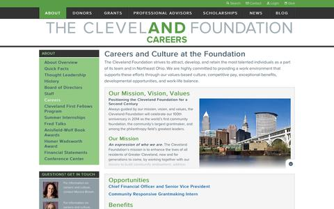 Screenshot of Jobs Page clevelandfoundation.org - Careers   The Cleveland Foundation - captured Feb. 8, 2016