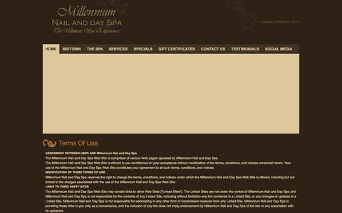 Screenshot of Terms Page millenniumnailanddayspa.com - Millennium Nail and Day Spa > Home - captured Oct. 7, 2014