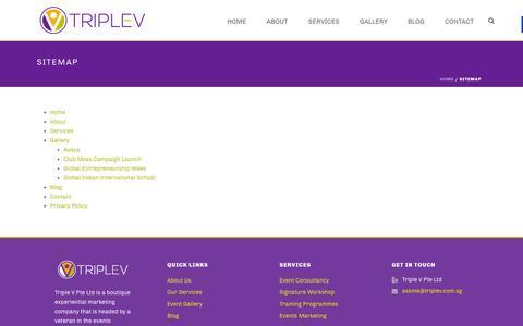 Screenshot of Site Map Page triplev.com.sg - Sitemap - Triple V - captured Feb. 25, 2016