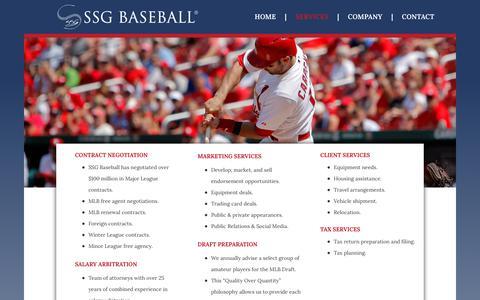 Screenshot of Services Page ssgbaseball.com - Services - SSG Baseball   Select Sports Group Baseball Agency - captured Dec. 17, 2018
