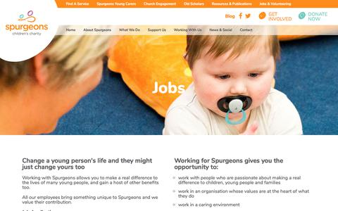 Screenshot of Jobs Page spurgeons.org - Jobs - captured June 16, 2017