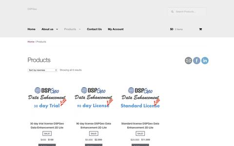 Screenshot of Products Page dspgeo.com - Products | - captured Jan. 7, 2016