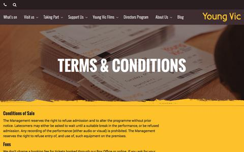 Screenshot of Terms Page youngvic.org - Terms & Conditions | Young Vic website - captured June 19, 2017