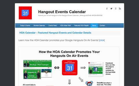 Screenshot of About Page hangouteventscalendar.com - HOA Calendar - Featured Hangout Events and Calendar Details | Hangout Events Calendar - captured Sept. 29, 2014