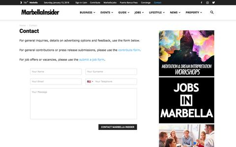 Screenshot of Contact Page marbellainsider.com - Contact | Marbella Insider - captured Jan. 13, 2018