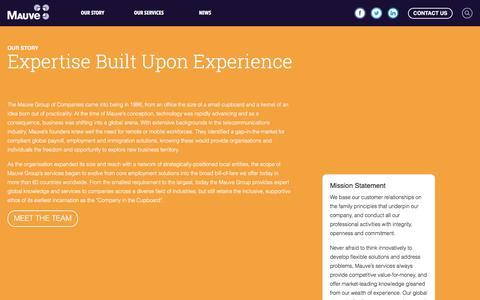 Screenshot of About Page mauvegroup.com - Our Story - Mauve - captured Nov. 18, 2016