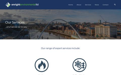 Screenshot of Services Page enrightenvironmental.co.uk - Services - Enright Environmental - captured Sept. 28, 2018
