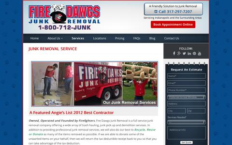 Screenshot of Services Page firedawgsjunkremoval.com - Fire Dawgs Junk Removal - Full Service Junk Removal - captured Aug. 3, 2016