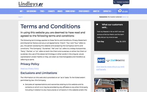 Screenshot of Terms Page lindleysautocentres.co.uk captured Dec. 10, 2015
