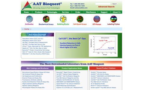 Screenshot of Home Page aatbio.com - AAT Bioquest, Inc. - captured Sept. 11, 2015