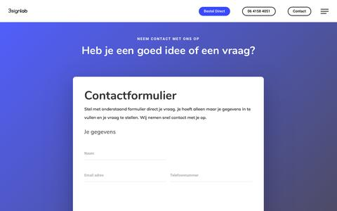 Screenshot of Contact Page 3signlab.nl - Contact - 3Signlab - captured Sept. 21, 2018