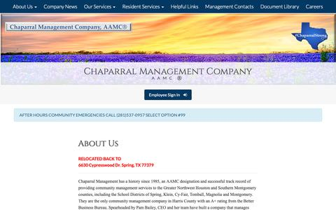 Screenshot of About Page chaparralmanagement.com - Chaparral Management Company - Chaparral Managment Company - captured Sept. 27, 2018