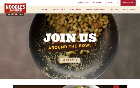 Screenshot of Home Page noodles.com - Noodles & Company - Noodles, Pasta, Salads & More - captured Feb. 7, 2016