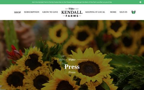 Screenshot of Press Page kendall-farms.com - Kendall Farms Flower Delivery, Flower Subscriptions Press News - captured Oct. 15, 2018