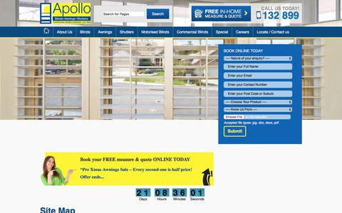 Screenshot of Site Map Page apolloblinds.com.au - Site Map: main categories of the Apollo Blinds website - captured Oct. 8, 2017