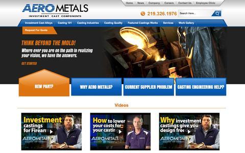 Screenshot of Home Page aerometals.com - Investment Castings   Precision Metal Castings   Aero Metals - captured Feb. 5, 2016