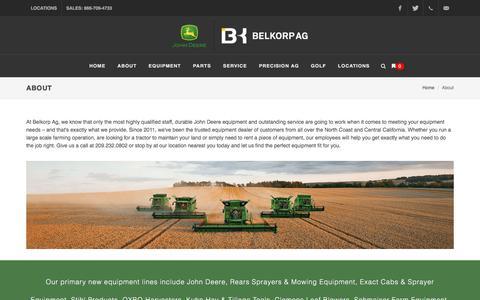 Screenshot of About Page belkorpag.com - About | Belkorp Ag | John Deere Dealership | California - captured May 20, 2018