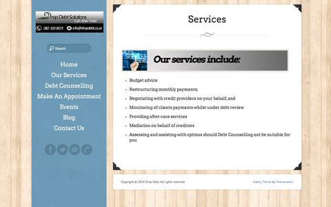 Screenshot of Services Page dropdebt.co.za - Services - captured Oct. 5, 2014