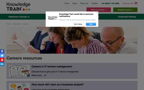 Screenshot of Jobs Page knowledgetrain.co.uk - Resources | Careers | Free | Knowledge Train® - captured Sept. 20, 2018