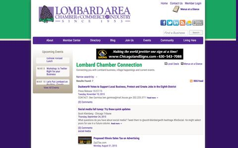 Screenshot of Blog lombardchamber.com - Lombard Chamber Connection - Lombard Area Chamber of Commerce and Industry - Lombard, Illinois - captured Feb. 1, 2016