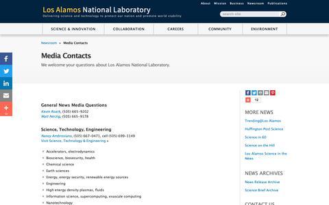Screenshot of Press Page lanl.gov - Media Contacts - captured Dec. 13, 2018