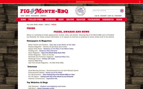 Screenshot of Press Page pigofthemonth.com - Press and Media Kit Information For Gourmet Food Mail Order  | Pig of the Month BBQ - captured Sept. 19, 2014