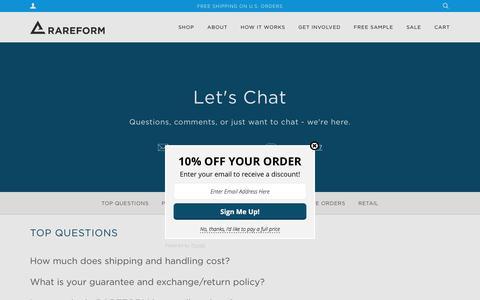 Screenshot of FAQ Page rareform.com - Rareform FAQ's Help – RAREFORM - captured Aug. 18, 2016