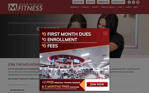Screenshot of Jobs Page mountainsidefitness.com - Careers - Mountainside Fitness - captured Sept. 23, 2018