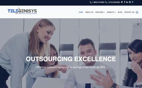 Screenshot of Home Page telegenisys.com - Telegenisys INC | Business Process Outsourcing Services | Data Entry Services BPO - captured Jan. 10, 2016