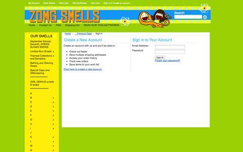 Screenshot of Login Page mybigcommerce.com - ZOMG Smells - Sign in - captured Sept. 18, 2014