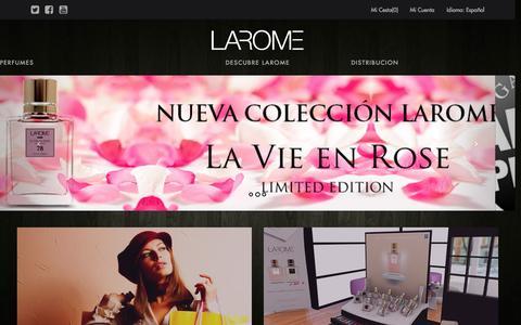 Screenshot of Home Page perfumeslarome.com - Perfumes LAROME - Sitio Web Oficial - captured July 20, 2015