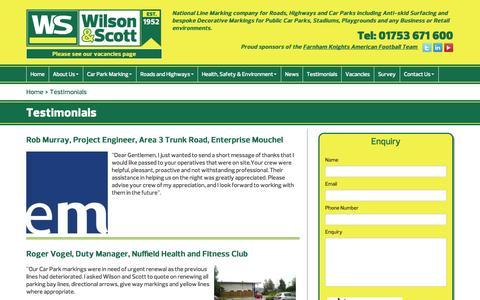 Screenshot of Testimonials Page wilsonandscott.co.uk - Testimonials - captured Oct. 9, 2014
