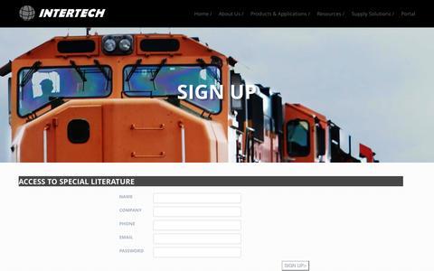 Screenshot of Signup Page intertechrail.com - Intertech Cargo Company - captured Sept. 30, 2014