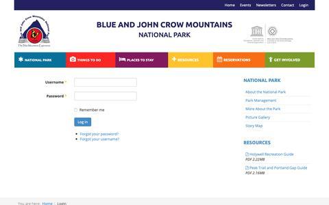 Screenshot of Login Page blueandjohncrowmountains.org - Login - Blue and John Crow Mountains National Park - captured Oct. 23, 2018