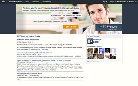 Screenshot of Press Page hfobserver.com - HFObserver in the Press | Hedge Fund Observer - captured Sept. 26, 2014