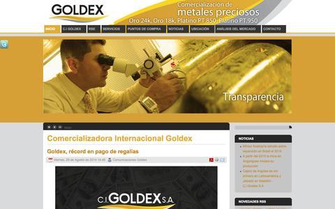 Screenshot of Home Page cigoldex.com.co - Comercializadora Internacional Goldex - captured Sept. 19, 2014