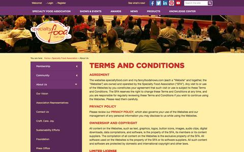 Screenshot of Terms Page specialtyfood.com - Specialty Food Association - captured Oct. 30, 2014