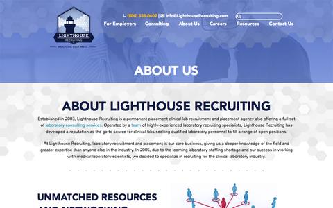 Screenshot of About Page lighthouserecruiting.com - Lab & Laboratory Recruitment & Placement Agencies, Clinical Recruiting - captured July 14, 2016