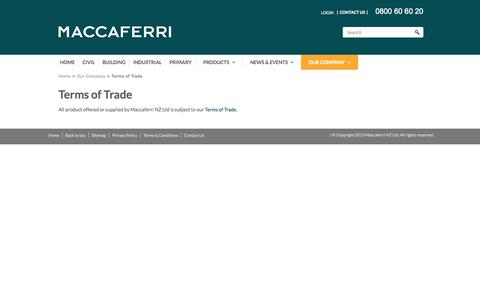 Screenshot of Terms Page maccaferri.co.nz - Terms of Trade - captured Nov. 2, 2014