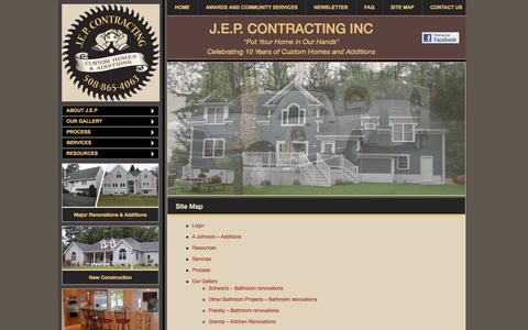 Screenshot of Site Map Page jepcontracting.com - Site Map - J.E.P. Contracting Inc - captured Oct. 3, 2014