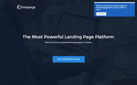 Screenshot of Landing Page instapage.com - The Best Landing Page Platform on the Planet - captured Nov. 8, 2016